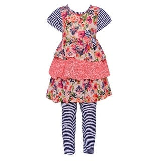 Bonnie Jean Baby Girls Navy Floral Print Tiered 2 Pc Legging Outfit