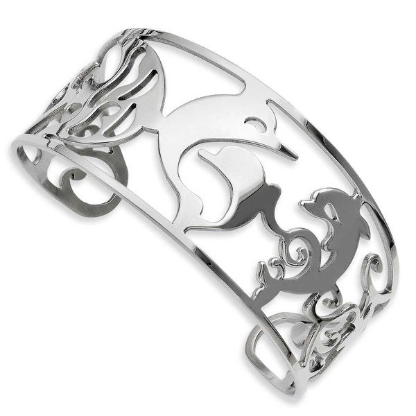 Stainless Steel Dolphins Cuff Bangle