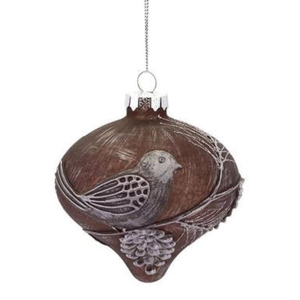 """4.25"""" Winter Light Weathered Brown Glass Onion Finial Christmas Ornament with Pine Cone & Bird Accent"""