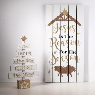 "Glitzhome 17.83""H Wooden Nativity Table Tree Decor"
