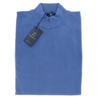 Real Cashmere Mock Neck Big Mens Denim Blue Sweater