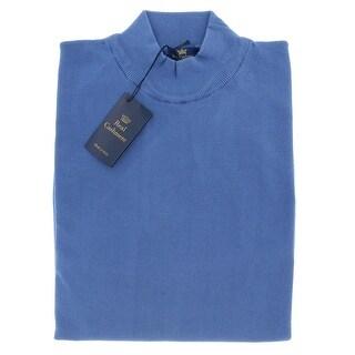 Real Cashmere Mock Neck Big Mens Denim Blue Sweater