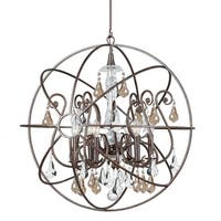 """Crystorama Lighting Group 9028-GS-MWP Solaris 6-Light 28"""" Wide Wrought Iron Globe Chandelier with Golden Shadow Hand Cut Crystal"""