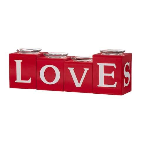 "Glitzhome 12""L Valentine's Wooden Love/XoXo/Hugs/Kiss Candle Holder Table Decor"