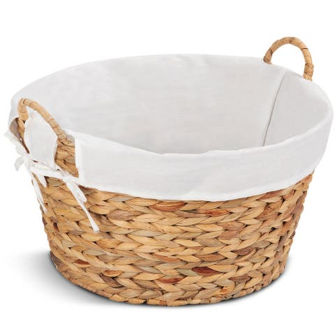 Set of 2 Large Seagrass Laundry Storage Basket - Brown