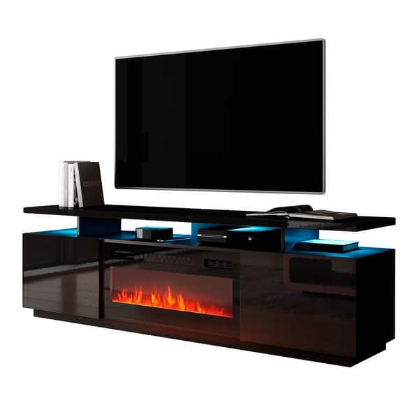 Mobile Furniture Eva Kbl Electric Fireplace Modern 71 Inch Tv Stand On Sale Overstock 31609279