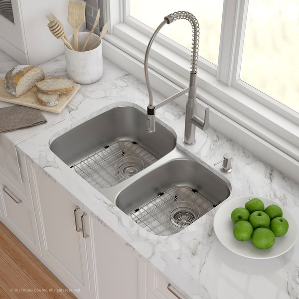 KRAUS MicroShield Stainless Steel 32 in 2-Bowl Undermount Kitchen Sink. Opens flyout.