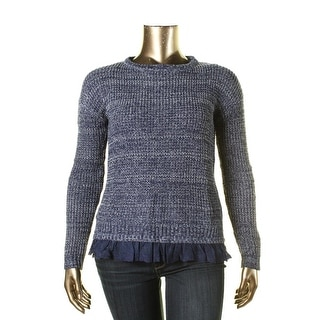 Jolt Womens Juniors Lace Trim Ribbed Knit Pullover Sweater