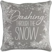 "18"" Snow White and Moon Gray Christmas ""Dashing Through the Snow"" Throw Pillow –Down Filler"