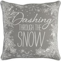 "18"" Snow White and Moon Gray Christmas ""Dashing Through the Snow"" Throw Pillow Cover"