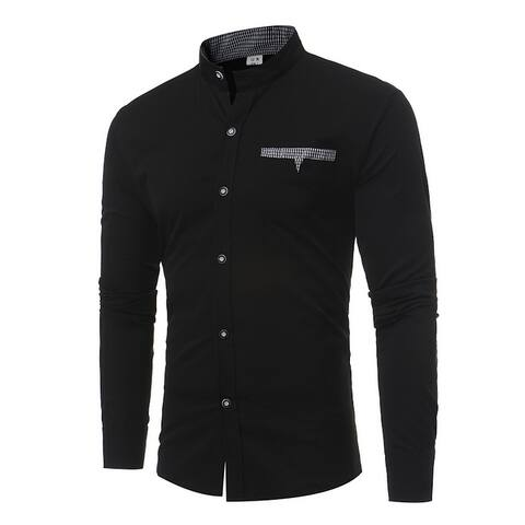 Mandarin Collar Long Sleeve Casual Shirts