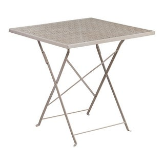 Offex 28'' Square Light Gray Indoor-Outdoor Steel Folding Patio Table