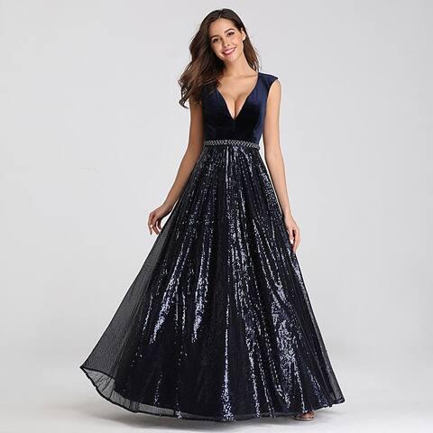 Ever-Pretty Women's Floor Length Velvet and Sequin Shimery Evening Dress 07840