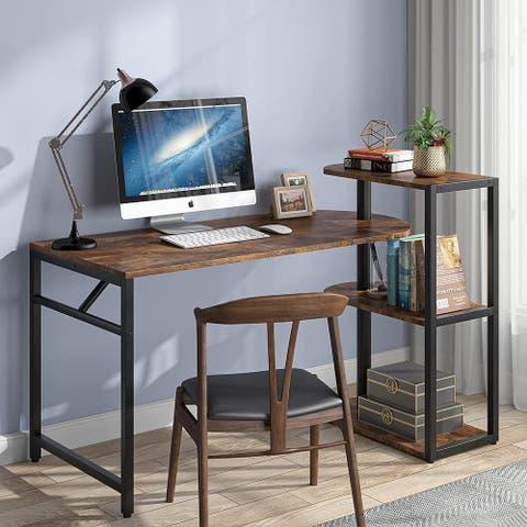Rotating Desk with Storage Shelf, Reversible L Shaped Computer Desk