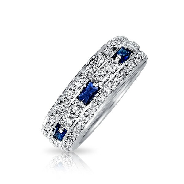 Bling Jewelry Sterling Silver Blue Glass CZ Eternity Band Ring
