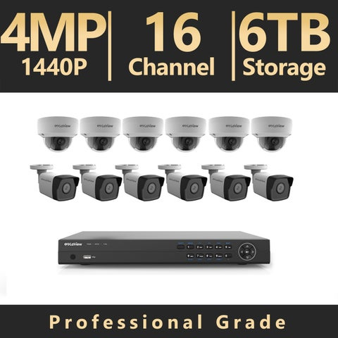 LaView 16-Channel Full HD 4MP IP Indoor/Outdoor Surveillance 6TB 4K NVR System (6) Bullet and (6) Dome Cameras Mobile Viewing