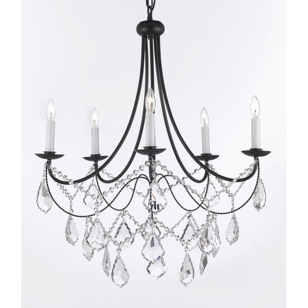 Spectra™ Trimmed Crystal Wrought Iron Chandelier Lighting *With Reliable* Crystal Quality By Swarovski H22.5 x W26