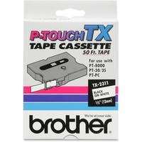 """Brother TX2311 Brother TX2311 Laminated Tape Cartridge - 0.50"" Width x 50 ft Length - Dot Matrix - White - 1 Each"""