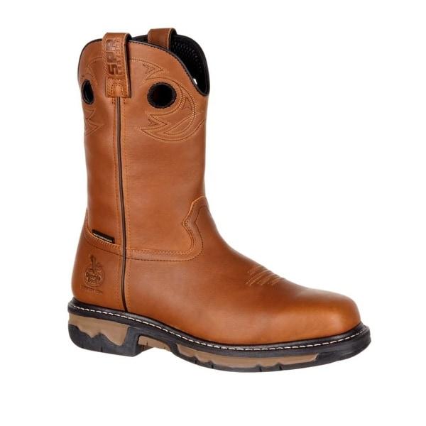 Georgia Boots Work Men Leather Carbo-Tec Wellington Dark Brown