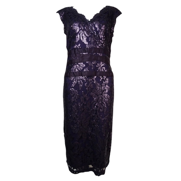 Adrianna Papell Women's Surplice V-Neck Sequined Lace Dress