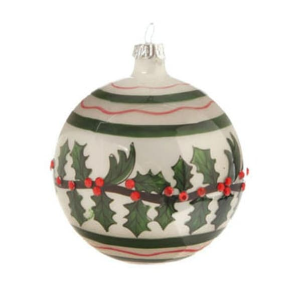 "4"" Glossy White, Red, and Green Jeweled Holly Glass Ball Christmas Ornament - RED"