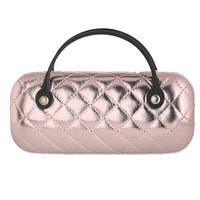 CTM® Women's Metallic Quilted Glasses Case with Handle - One size