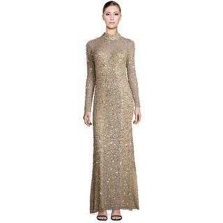 Parker Leandra Sequin Long Sleeve Mockneck Evening Gown Dress Silver