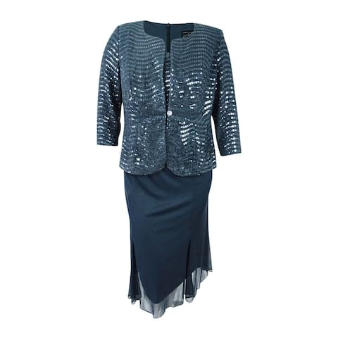 Alex Evenings Women's Plus Size Sequined Chiffon Dress and Jacket - Grey
