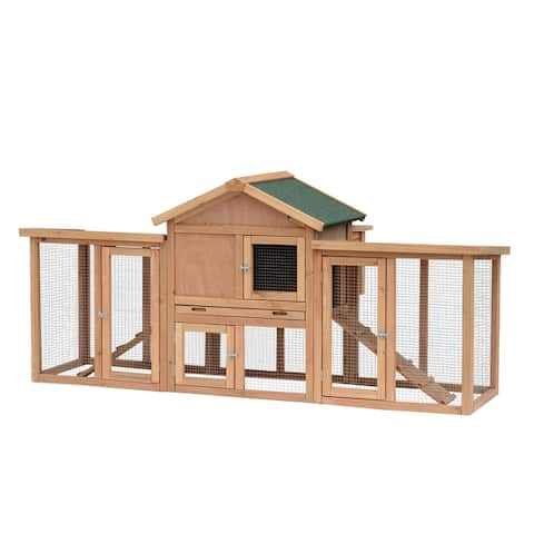 "PawHut 80"" Wooden Chicken Coop Backyard Hen Cage House Poultry w/ Nesting Box Run - Brown/Green - 37""h x 82""d x 35""w"