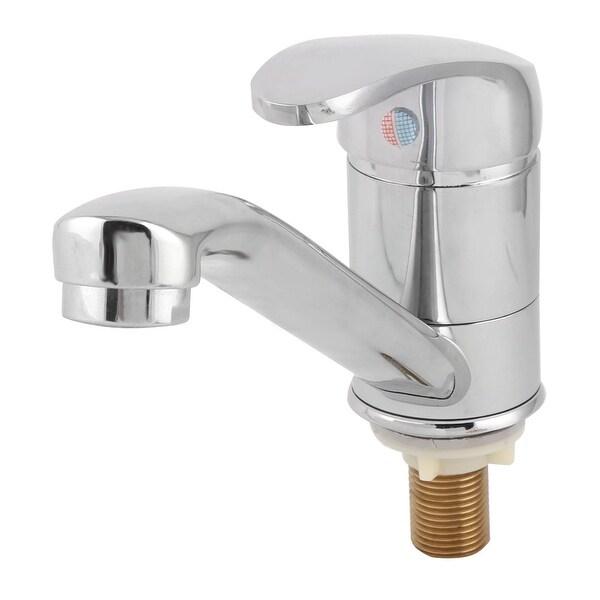 Bathroom Kitchen Sink Basin Metal Single Lever Water Tap Faucet Silver Tone