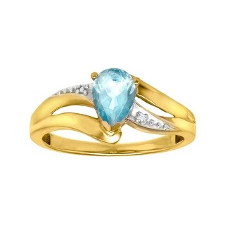 5/8 ct Aquamarine Ring with Diamond in 10K Gold - Blue