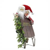 "26"" Battery Operated Lighted Musical Santa Claus with Sleigh Christmas Decoration"