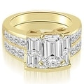 3.30 cttw. 14K Yellow Gold Channel Diamond Princess and Emerald Cut Bridal Set - Thumbnail 0