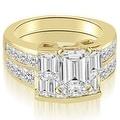 3.55 cttw. 14K Yellow Gold Channel Diamond Princess and Emerald Cut Bridal Set - Thumbnail 0