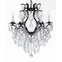 Swarovski Crystal Trimmed Chandelier! Wrought Iron Crystal Chandelier Chandeliers Lighting - Black