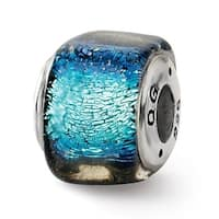 Sterling Silver Reflections Blue Dichroic Glass Square Bead (4mm Diameter Hole)