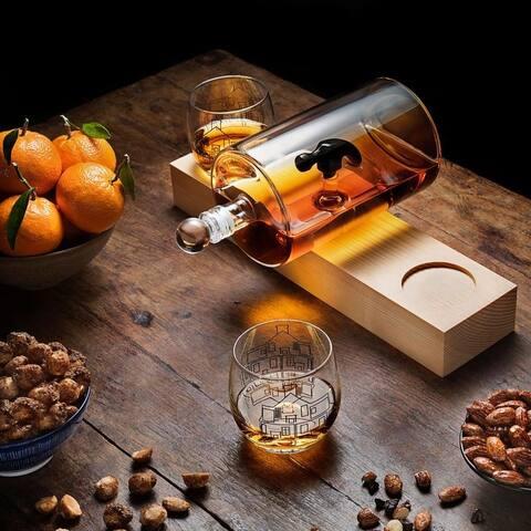 JoyJolt Hammer Whiskey Decanter Set - 48 oz. Decanter Two 9 oz. Whiskey Glasses
