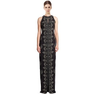 Badgley Mischka Embellished Beaded Keyhole Column Evening Gown Dress