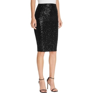 Aqua Womens Pencil Skirt Sequined Stretch