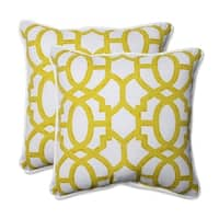 "Set of 2 Geo Amazing Yellow Throw Pillow 18.5"" - White"