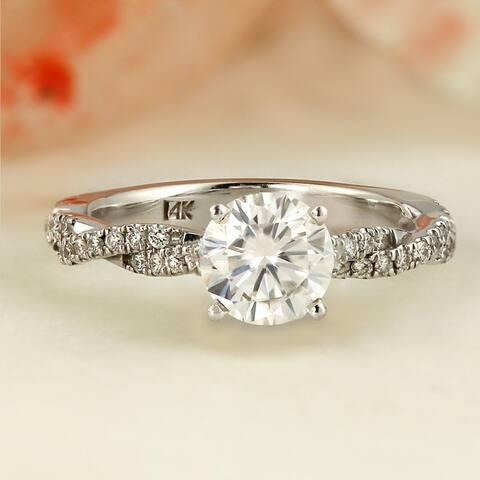 Auriya 14k Gold Twisted Moissanite Engagement Ring 1.20ctw