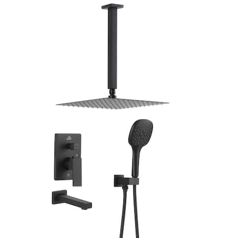 ExBrite Matte Black 12 inch Luxury Rain Mixer Shower Combo Set Ceiling Mounted Rain Shower Head System with Tub Spout