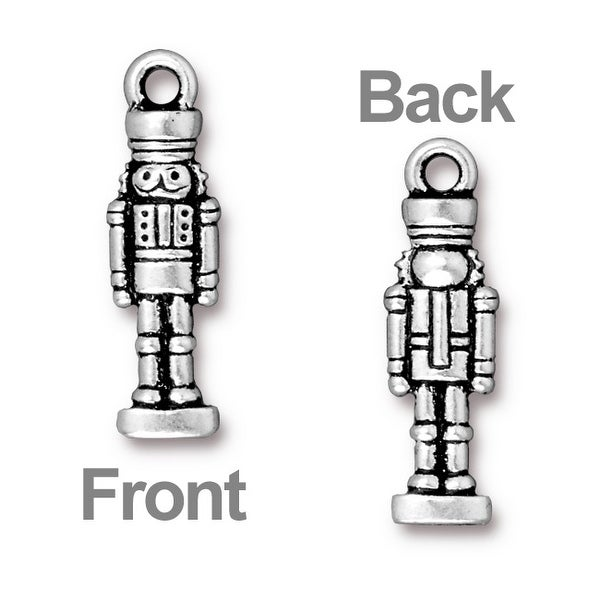 TierraCast Antiqued Silver Plated Lead-Free Pewter Nutcracker Charm 27mm (1)