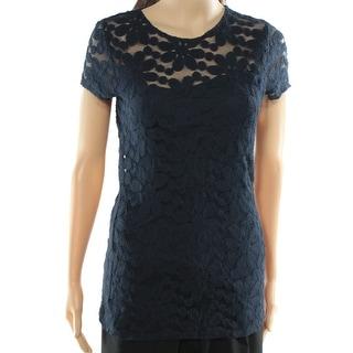 INC NEW Navy Blue Women's Size XL Floral Lace Knit Illusion Blouse