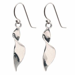 Women's Sterling Spiral Ribbon Earrings - Silver