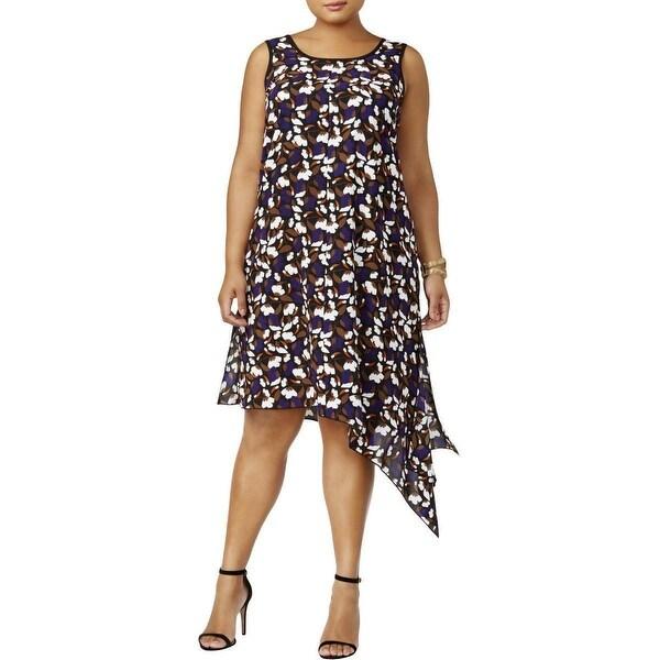 Anne Klein Purple Womens Size 1X Plus Asymmetric Floral Shift Dress