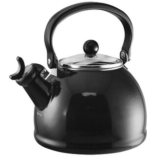 Calypso Basics by Reston Lloyd Harmonic Hum Whistling Teakettle with Glass Lid, 2.2-Quart, Black