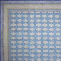 Beautiful Handmade Cotton Kensington Block Print Bedspread Coverlet Blue Twin & Full