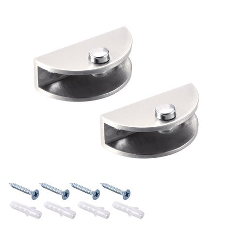 Glass Brackets Adjustable Glass Clamp Clip Half Round for 6-10mm thick , 2 Pcs - Brown - Regular - for 6-10mm