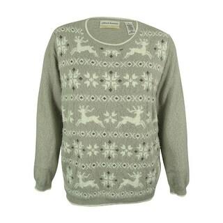 Alfred Dunner Women's Reindeer Fair Isle Sweater